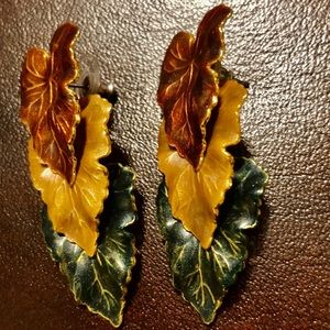 Vintage Autumn Three Leaf Earrings